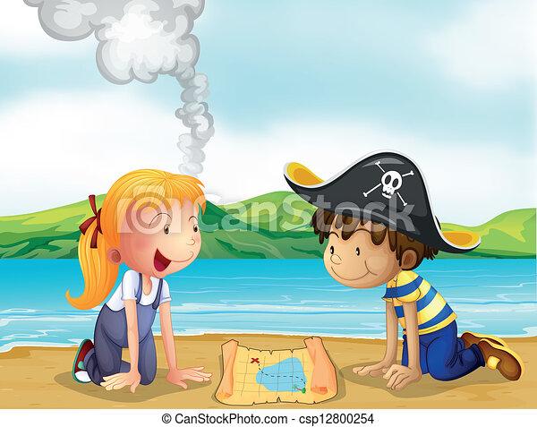 Ein Mädchen und ein Junge studieren die Karte - csp12800254