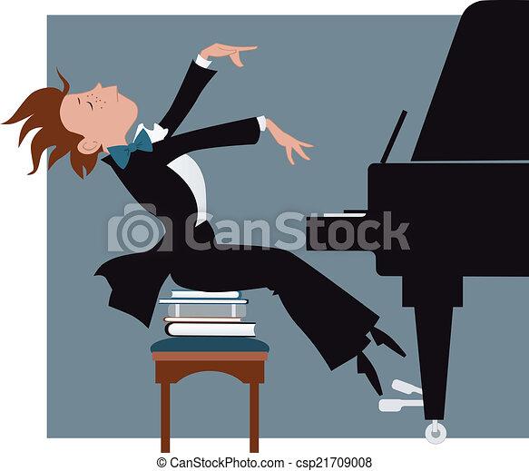 Junge, piano, spielt. Lustiges, karikatur, vektor, klavier ...