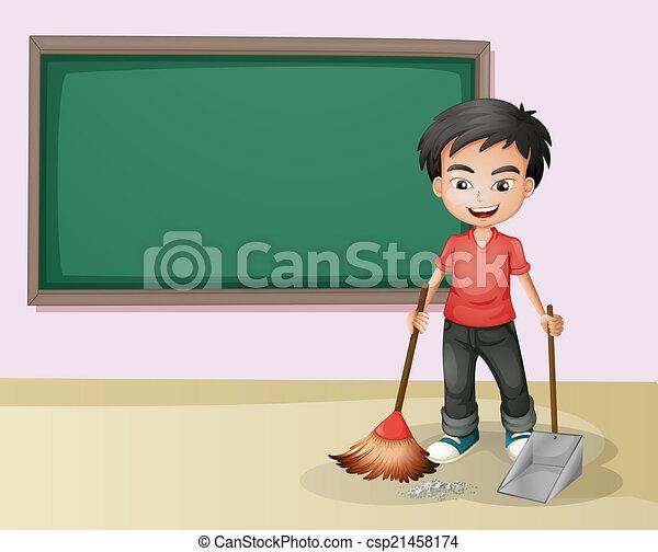 Tafel wischen clipart  Klassenzimmer, junge, putzen, abbildung Vektoren Illustration ...