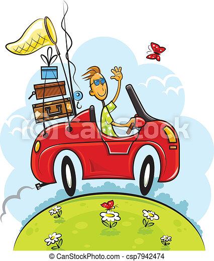 junge, reise, fahren, auto - csp7942474