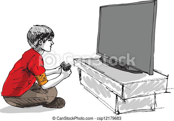 Junge spielt Computer - csp12179683