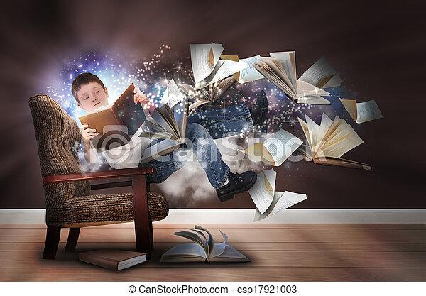 junge, stuhl, buecher, lesende , einbildungskraft - csp17921003