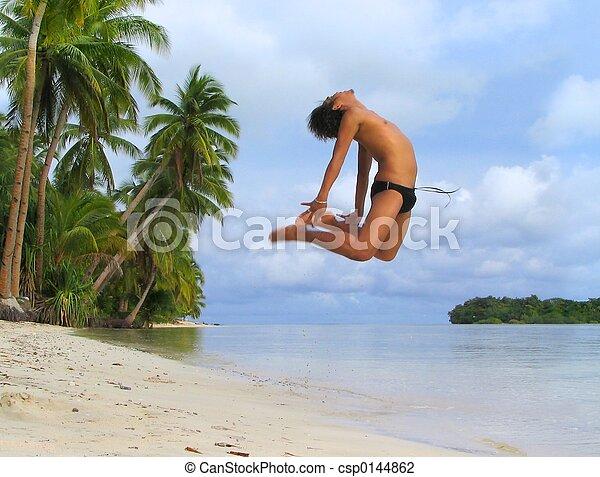 junge, tanzen, tropische , beifallsruf, asiatisch, sandstrand - csp0144862