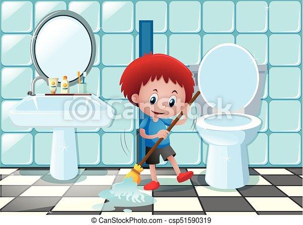 junge, wenig, boden, badezimmer, putzen