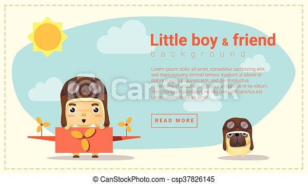 Kleiner Pilot und Freund - csp37826145