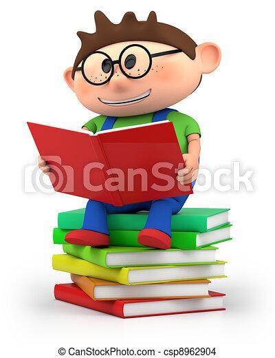 junge, wenig, lesende  - csp8962904