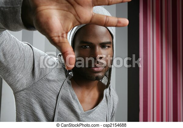 junger, amerikanische , schwarz, klopfen, afrikanischer mann - csp2154688