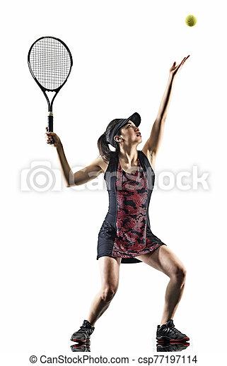 junger, asiatisch, brackground, silhouette, tennisspieler, freigestellt, weißes, frau - csp77197114