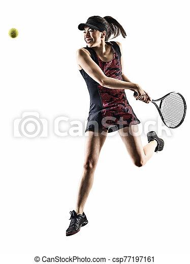 junger, asiatisch, brackground, silhouette, tennisspieler, freigestellt, weißes, frau - csp77197161
