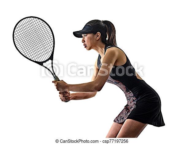 junger, asiatisch, brackground, silhouette, tennisspieler, freigestellt, weißes, frau - csp77197256