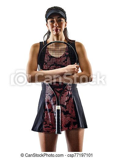 junger, asiatisch, brackground, silhouette, tennisspieler, freigestellt, weißes, frau - csp77197101