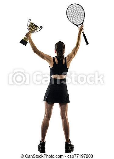 junger, asiatisch, brackground, silhouette, tennisspieler, freigestellt, weißes, frau - csp77197203