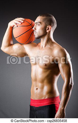 junger, weißes, basketball, freigestellt, spieler - csp26835458