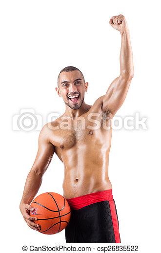 Junger Basketballspieler, isoliert auf weiß - csp26835522