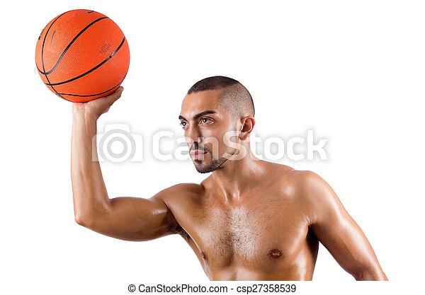 junger, weißes, basketball, freigestellt, spieler - csp27358539