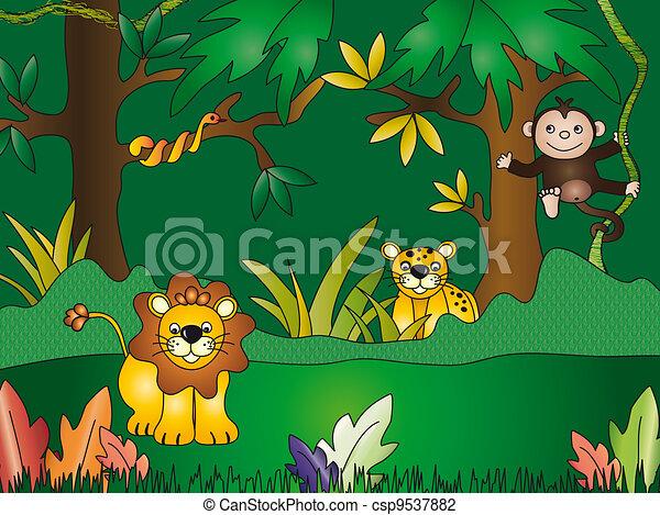 illustration of fun jungle cartoon clip art search illustration rh canstockphoto com jungle clip art black and white jungle clip art for kids