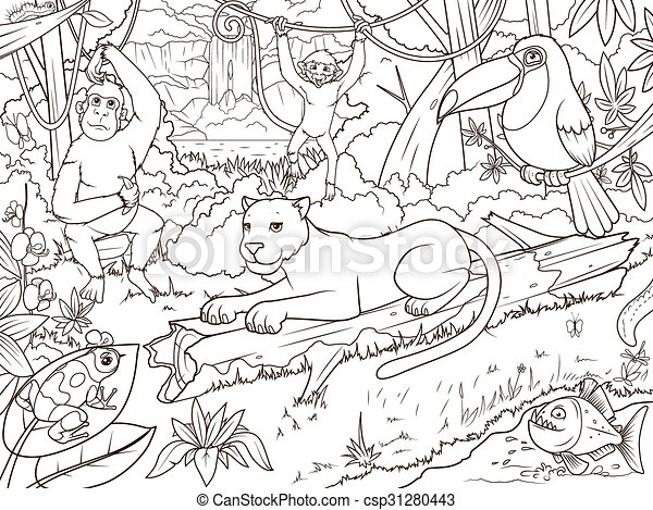 Jungle forest animals cartoon coloring book. Jungle forest with ...