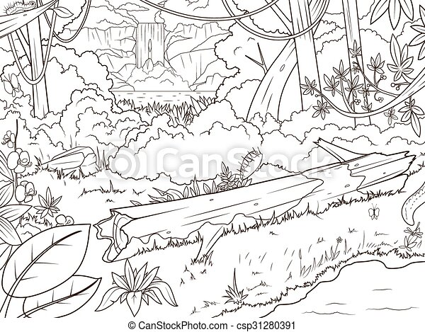 Jungle forest waterfal coloring book cartoon. Jungle forest with ...