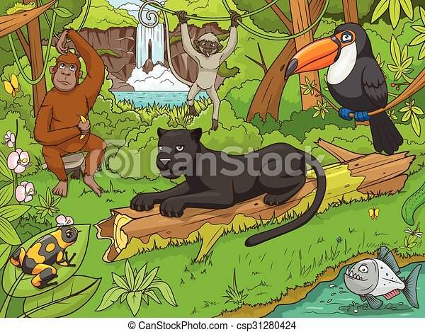 Jungle forest with animals cartoon vector - csp31280424