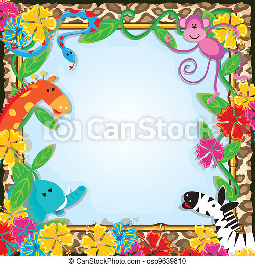 Jungle zoo party invitation bright and colorful jungle animals jungle zoo party invitation csp9639810 stopboris Gallery