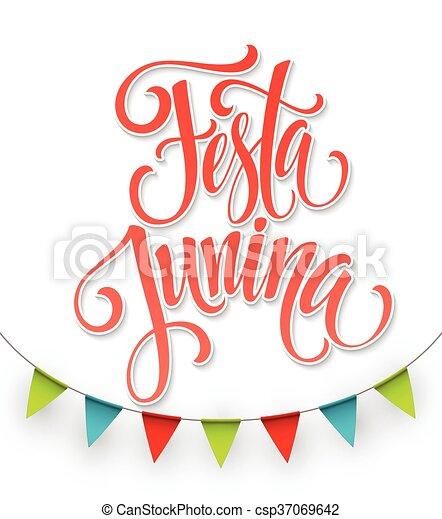 Festa junina fiesta diseño de bienvenida. Ilustración de vectores - csp37069642