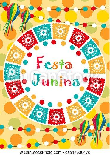 Tarjeta De Festa Junina Invitación Poster La Plantilla