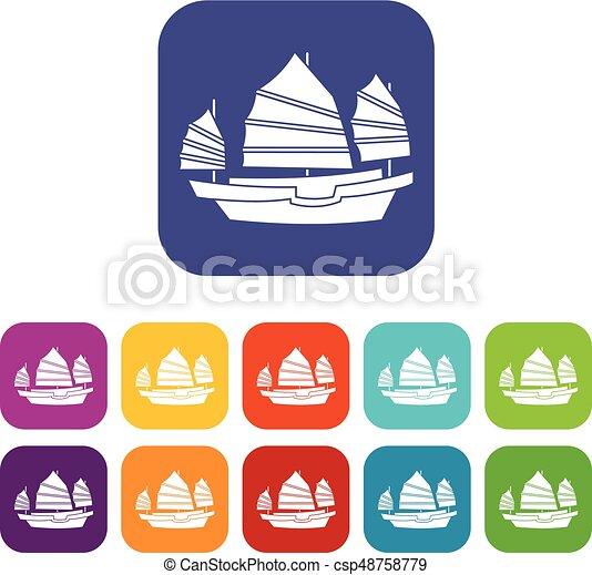 Junk boat icons set flat - csp48758779