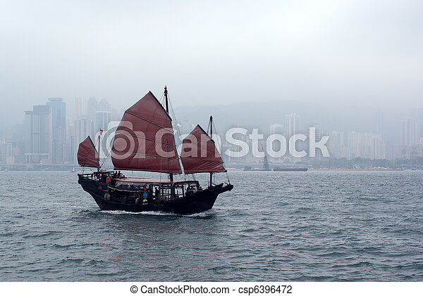 Junk Boat Sails in Victoria Harbor