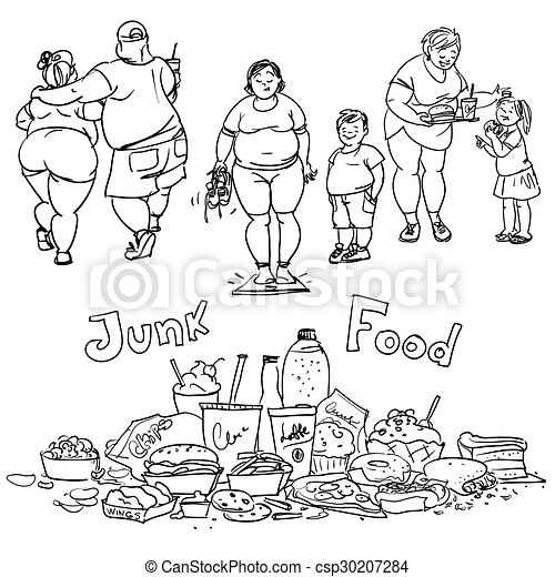 Junk Food And Obese People Hand Drawn Cartoon Collection