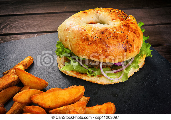 junk food on a wooden table - csp41203097