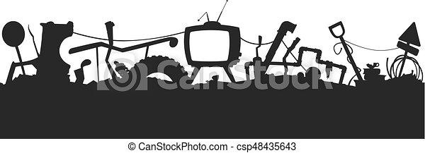 Junkyard seamless silhouette pattern - csp48435643