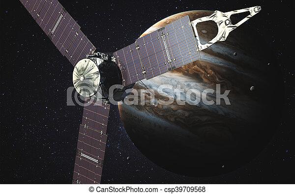 Juno sattelite orbiting Jupiter. Elements of this image furnished by NASA - csp39709568