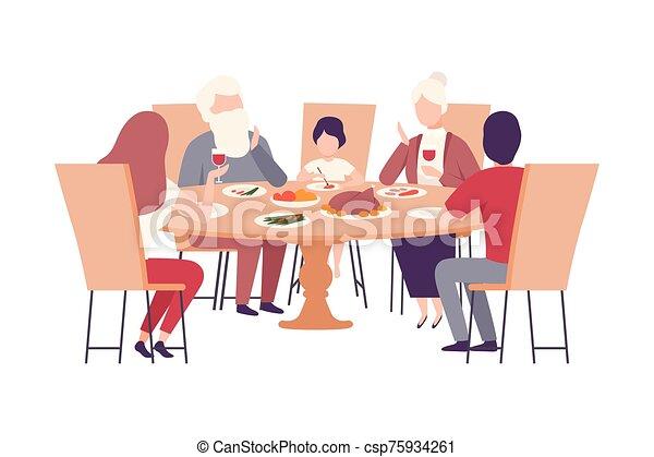 juntos, feliz, ilustración, familia , sentado, cenar mesa, vector - csp75934261