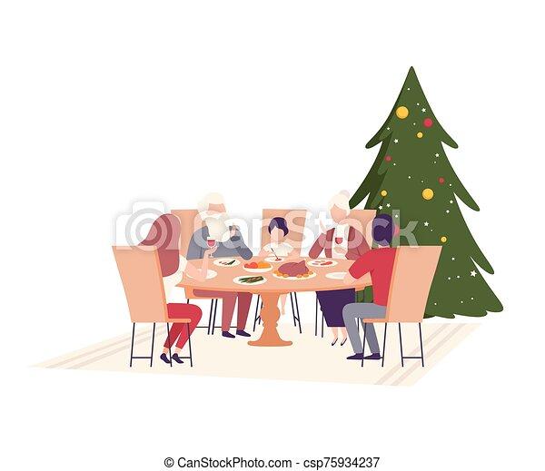 juntos, feliz, ilustración, familia , sentado, cenar mesa, vector - csp75934237