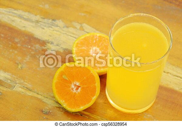 jus, bois, mandarine, verre, planche découper, orange - csp56328954