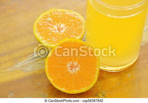 jus, bois, mandarine, verre, planche découper, orange - csp56387842