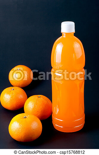 jus orange, bouteille - csp15768812