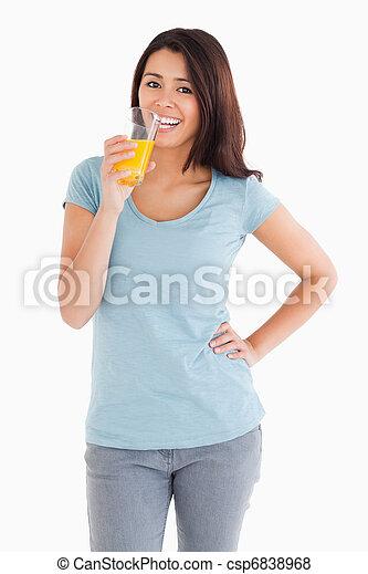 jus orange, magnifique, femme, verre - csp6838968
