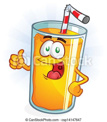 jus orange, pouces, dessin animé, haut - csp14147647