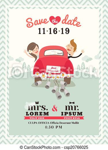 Just married car wedding invitation design - csp20766025