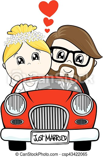 just married cartoon - csp43422065