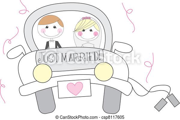 just married cartoon - csp8117605