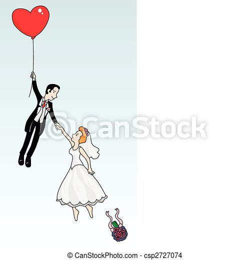 Just married couple flying - csp2727074