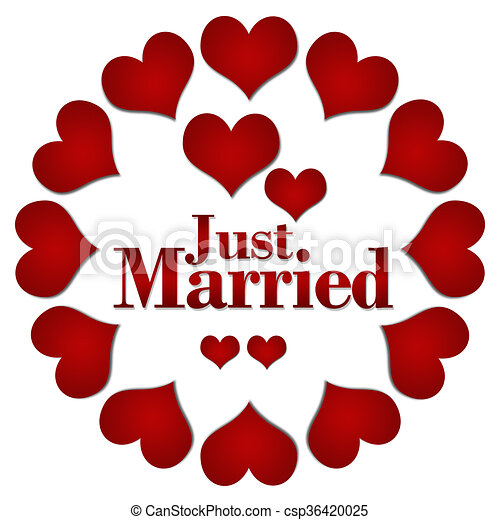 Just Married Red Hearts Circular Just Married Concept Image With