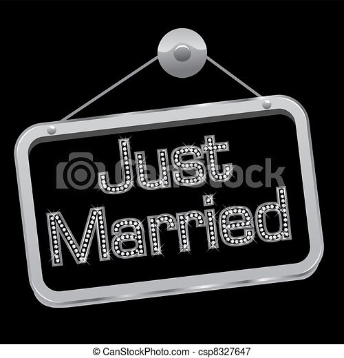 Just married sign bling bling - csp8327647