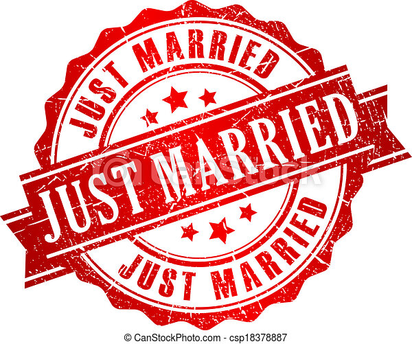 Just married vector stamp - csp18378887