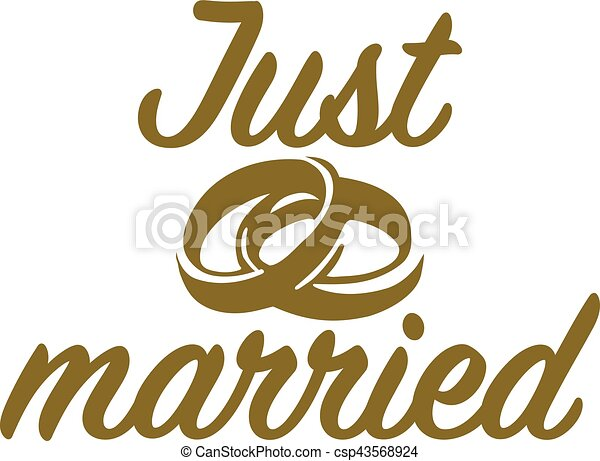 Just married with wedding rings - csp43568924