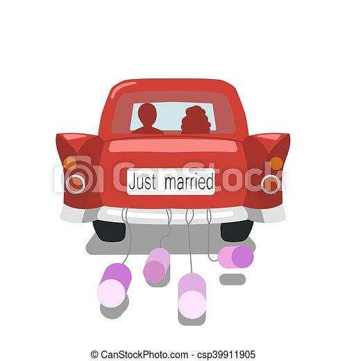 Juste voiture mari s vecteur mariage dessin anim married juste color voiture - Dessin voiture mariage ...