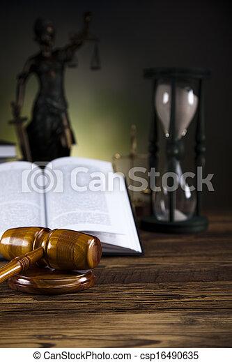 justiça, livro, gavel, lei, escalas - csp16490635