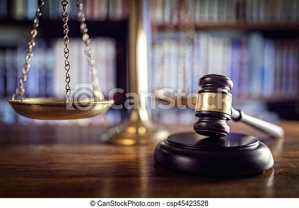 justiça, livros, gavel, lei, escalas - csp45423528